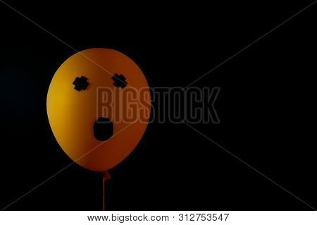 Scary Air Balloons For Halloween Over Black Background