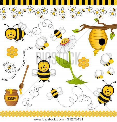 Bee digital collage