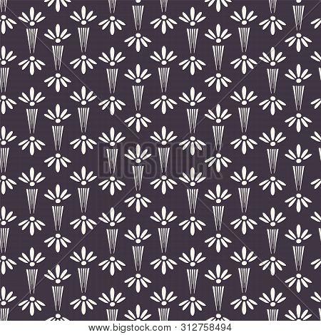 Art Nouveau ornamental flower motif Jugenstil style. Vector seamless pattern. Modernist trendy monochrome all over print. poster