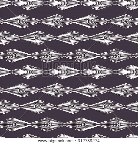 Art Nouveau ornamental motif stripes Jugendstil style. Vector seamless pattern. Retro arabesque textiles swatch. Decorative arts crafts folk art home decor. Modernist monochrome arrow all over print. poster