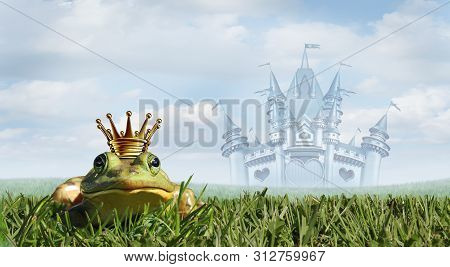 Frog Prince Fairy Tale Castle Background As A Magical Story Concept With A Gold Crown With An Amphib