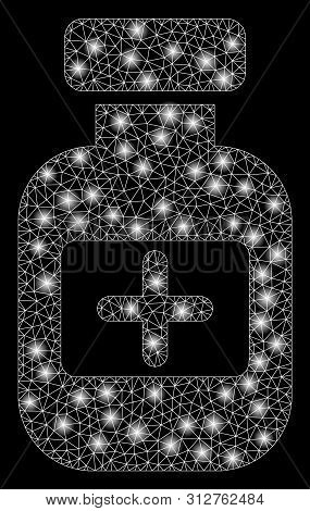 Flare Mesh Medication Phial With Glitter Effect. Abstract Illuminated Model Of Medication Phial Icon