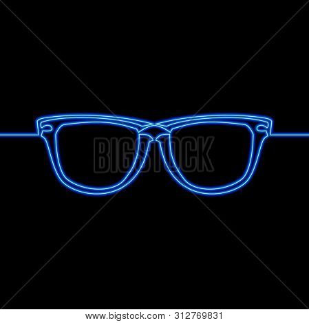 Continuous One Single Line Drawing Glasses Optical Icon Neon Glow Vector Illustration Concept