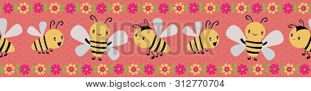 Cute Cartoon Honey Bees And Flowers Border Design On Coral And Yellow Honeycomb Background. Seamless