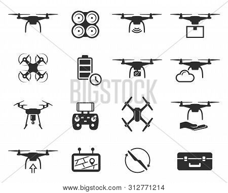 Drones Black Icon Set, Helicopter Technology And Aircraft
