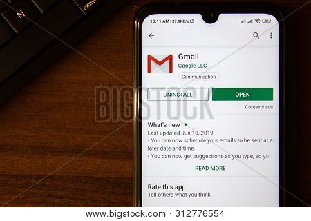 Ivanovsk, Russia - July 07, 2019: Gmail App On The Display Of Smartphone Or Tablet