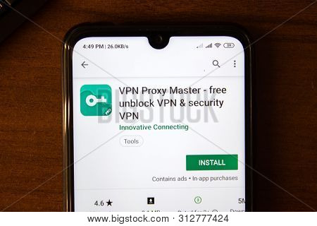 Ivanovsk, Russia - July 07, 2019: Vpn Proxy Master App On The Display Of Smartphone Or Tablet