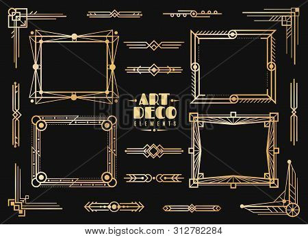 Art Deco Elements. Gold Wedding Deco Frame Border, Classic Dividers And Corners. 1920s Retro Luxury