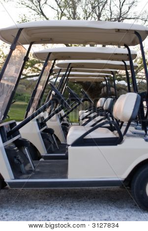 Golf Carts Lined Up At Country Club