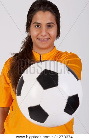 Referee With A Soccer Ball