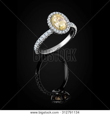 Wedding Ring  With Yellow And White Diamonds On Black Background With Reflection. Jewellery With Gem