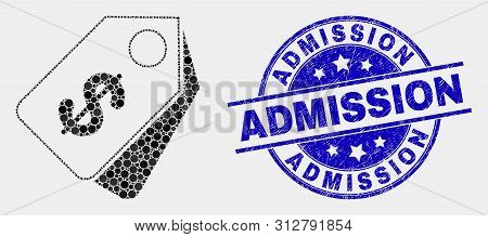 Dotted Dollar Tags Mosaic Pictogram And Admission Seal Stamp. Blue Vector Rounded Textured Watermark