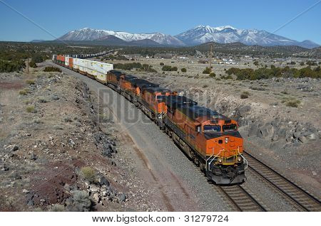 Freight train and San Francisco Peaks