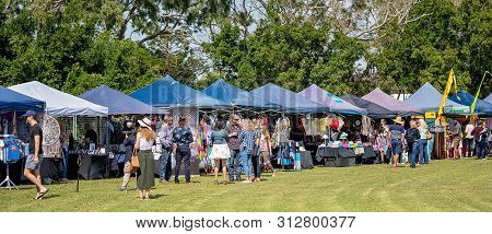 Mackay, Queensland, Australia - 20th July 2019: Crowd Of People At Annual City Outdoor Food And Wine