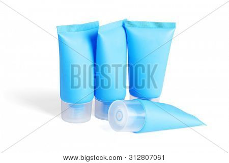 Blank Plastic Tubes for Cosmetic Products on White Background
