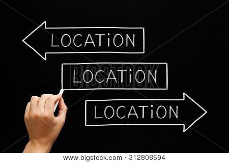 Hand Writing Location, Location, Location On Three Arrows With Chalk On Blackboard. Real Estate Conc
