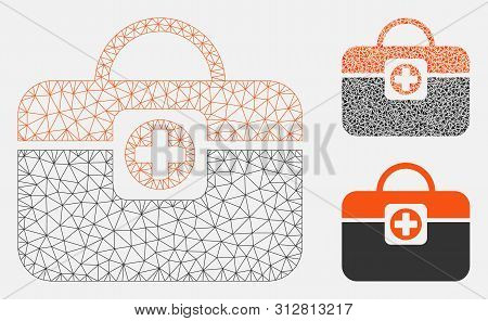 Mesh Medic Case Model With Triangle Mosaic Icon. Wire Frame Polygonal Mesh Of Medic Case. Vector Mos