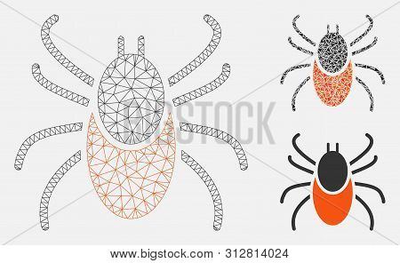 Mesh Mite Model With Triangle Mosaic Icon. Wire Carcass Polygonal Mesh Of Mite. Vector Composition O