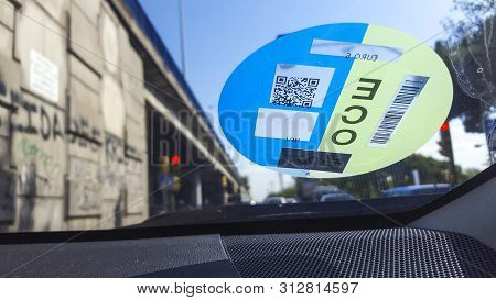 Madrid, Spain - 14th July, 2019: Madrid Central Sticker In Car Windshield. City Center Off-limits Id