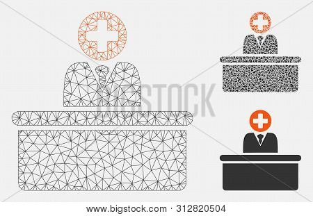 Mesh Medical Bureaucrat Model With Triangle Mosaic Icon. Wire Carcass Triangular Mesh Of Medical Bur