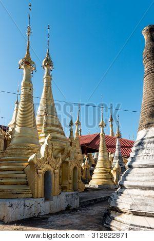Vertical Picture Of Indein Temple, Landmark Of Inle Lake, Myanmar