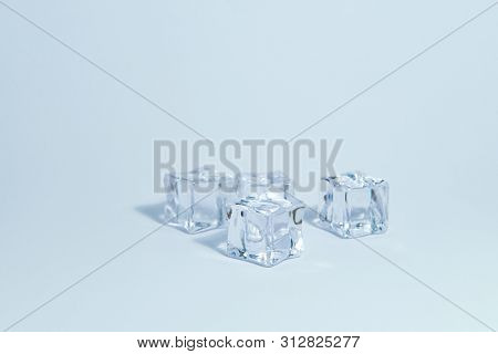 Ice Cubes Isolated White Background Frost Water Abstract