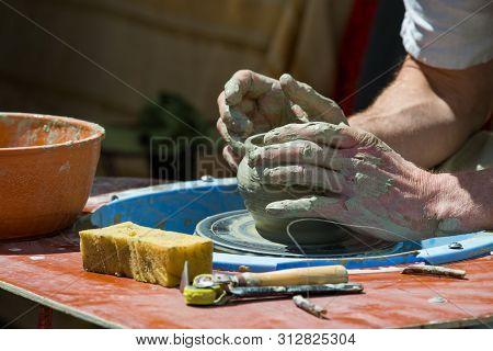 Making Handmade Ukrainian Pottery Kiev Ukraine National Traditions Sunny Day