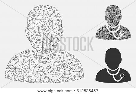 Mesh Medic Model With Triangle Mosaic Icon. Wire Carcass Triangular Mesh Of Medic. Vector Compositio