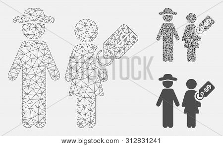 Mesh Marriage Of Convenience Model With Triangle Mosaic Icon. Wire Frame Polygonal Mesh Of Marriage