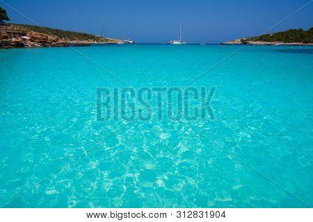 Ibiza Portinatx Arenal Petit beach in Balearic Islands of Spain