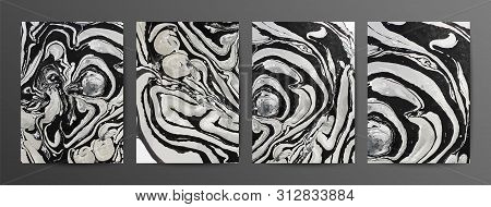 Monochrome Marbled Paper Vector Illustrations Set. Hand Drawn Modern Paintings With Liquid Mixture E