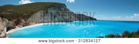 Beautiful panoram of Porto Katsiki beach coast on Lefkada island, Greece. Ionian islands