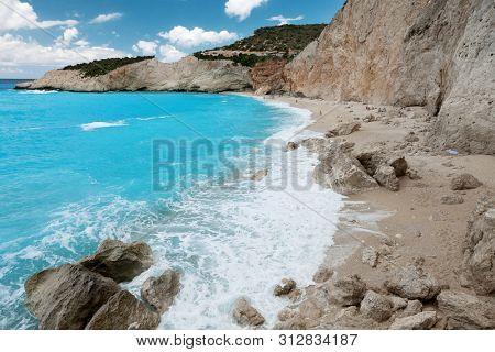 Porto Katsiki beach coast on Lefkada island, Greece.