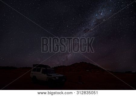 Cloudless starlit night sky with Milky Way and bright stars as panorama view for wallpaper and copy space