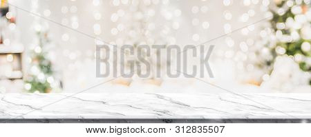 Christmas Background Of Marble Table Top With Abstract Warm Living Room Decor With Christmas Tree St