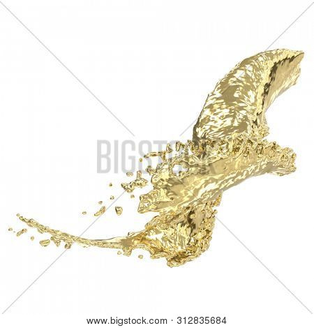 Splash of melted gold. Isolated on white background. 3d rendering.