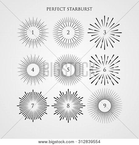 Set Of Light Rays, Sunburst And Rays Of Sun. Vintage Hipster Style. Light Rays Sunburst, Arrow, Ribb