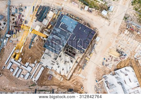Construction Formwork In Construction Site. Aerial Topdown View Of High-rise Apartment Building Cons