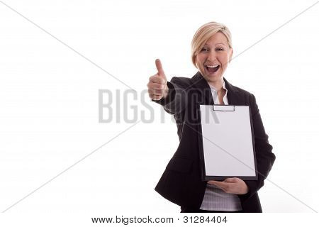 Business Woman With A Notepad Lifts Thumb