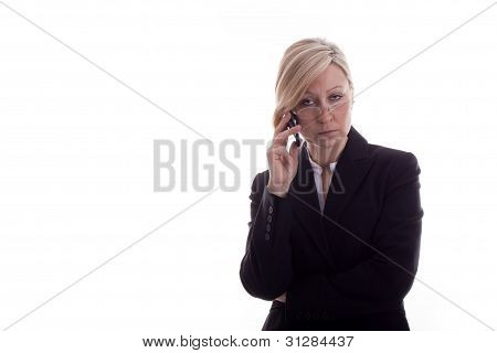 Resigned Secretary With Phone
