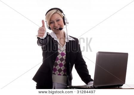 Businesswoman Thumbs Up