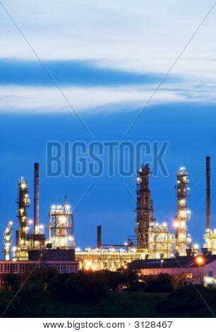 An Oil Refinery At Dusk