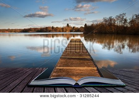 Fishing Jetty On Lake Coming Out Of Magic Book Pages