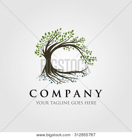 Tree Logo Illustration Design, Nature Logo, Oak Logo