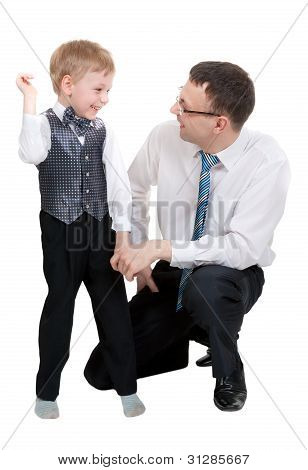 Businessman With His Son In The Studio