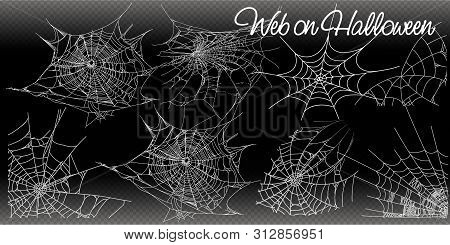 Collection Of Cobweb, Isolated On Black, Transparent Background. Spiderweb For Halloween Design. Vec