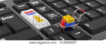 Online Booking Concept. 3d Illustration. 3d Rendering. Closeup Keyboards With A Buy Button And A Sho