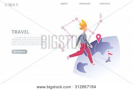 Character Walks Around The Planet, The Concept Of Spontaneous Travel. Isolated Vector Illustration F