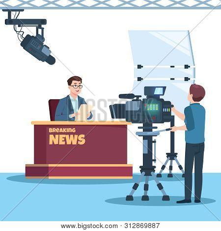 Breaking News Tv Show Studio. Anchorman, Cameraman, Spotlights And Camera Vector Illustration. Tv St