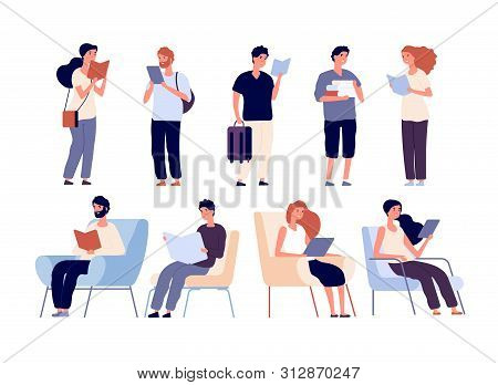 People Read Books. Group Of Women And Man Reading Book Standing And Sitting On Chair. Students Stand